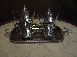 BEAUTIFUL ANTIQUE AUORA TRIPLE SILVER PLATE TEA SET &  A TRAY  NO MONOGRAM - $1,250.00