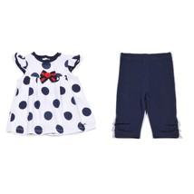Petit Lem Baby Girls White Navy Blue Size 24 Months Dress & Legging 2pc ... - $26.18