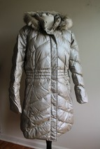Talbots L Metallic Gold Long Quilted Puffer Coat Jacket Faux Fur Hood - $79.80