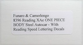 Funaro F&C HO READING XAe Steel Autocar w/ Speed lettering decals Kit 8396 image 3