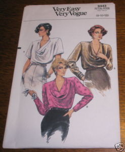 VOGUE BLOUSE PATTERN 9443 SZ 8-10-12 UNUSED
