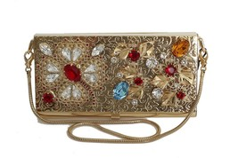 Dolce & Gabbana Gold Brass Crystal Clutch Bag 302031 - $825.07