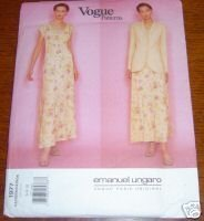 VOGUE PATTERN #1977 UNGARO DRESS/JACKET SZ 6-8-10 UNCUT