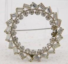 VTG .925 Sterling Silver Carl Art Clear Glass Rhinestone Wreath Brooch Pin - $49.50