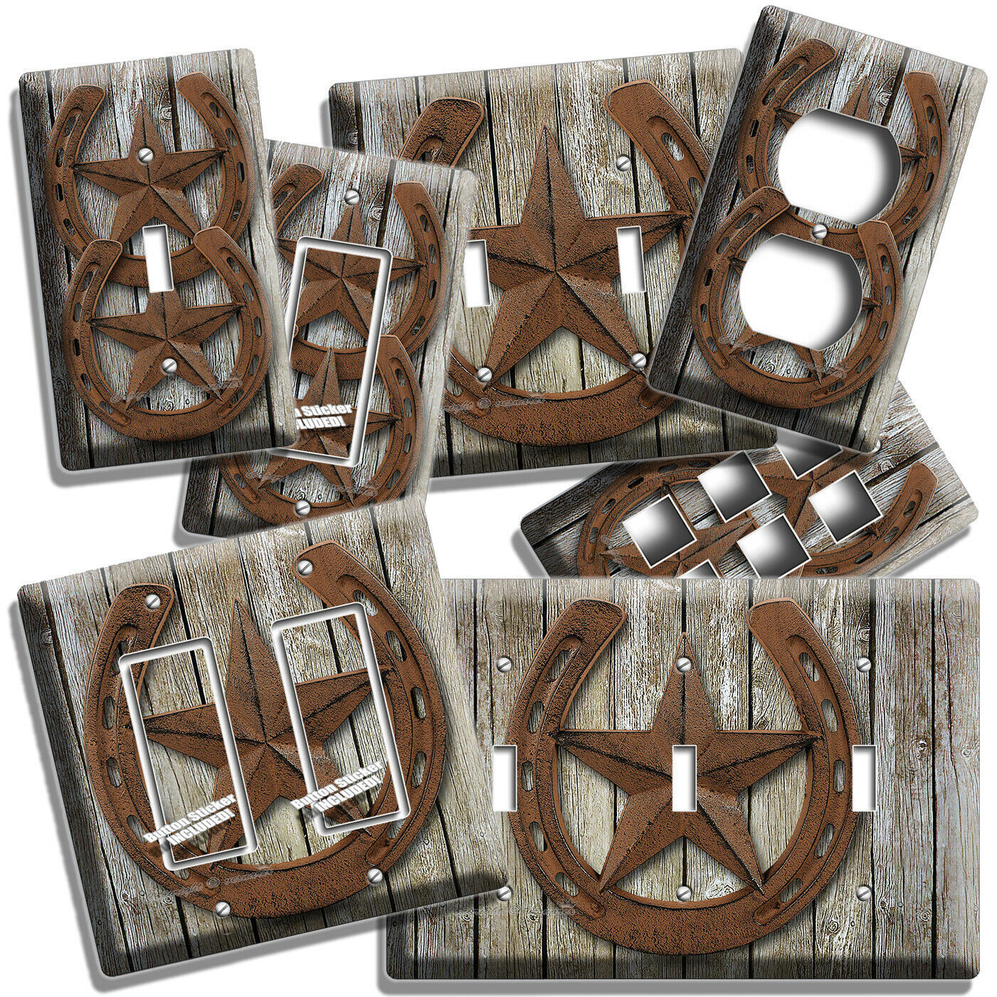 Primary image for RUSTIC WESTERN COWBOY LONE STAR HORSESHOE LIGHT SWITCH OUTLET WALL PLATES DECOR