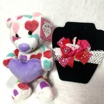 Toddler Girls Valentine Gift Box Claire's Headband Pink Heart Bear 2pc - $12.45