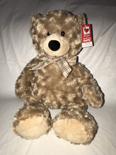"Primary image for GANZ Plush Tan Teddy Bear ""Kirby"" 16"" NWT Soft Huggable Plaid Bow"