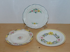 Three Bread & Butter Plates-Secla Made in Portucal-Edwin Knowles-Blue Ri... - $1.79