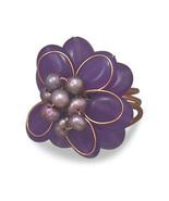 New Women's Pearl Flower Ring, Bronze & Purple Quartz Flower Fashion Pea... - $8.76