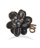 New Women's Pearl Flower Ring, Bronze and Black Quartz Flower Fashion Pe... - $8.76