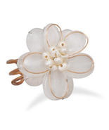 New Women's Pearl Flower Ring, Bronze and White Quartz Flower Fashion Pe... - $9.75