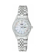 Women's Stainless Steel Bracelet Mother of Pearl Dial Citizen Watch EQ05... - $77.21