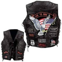 Mens Leather Biker Motorcycle Harley Rider Chopper Vest 14 Patches Eagle... - $49.54