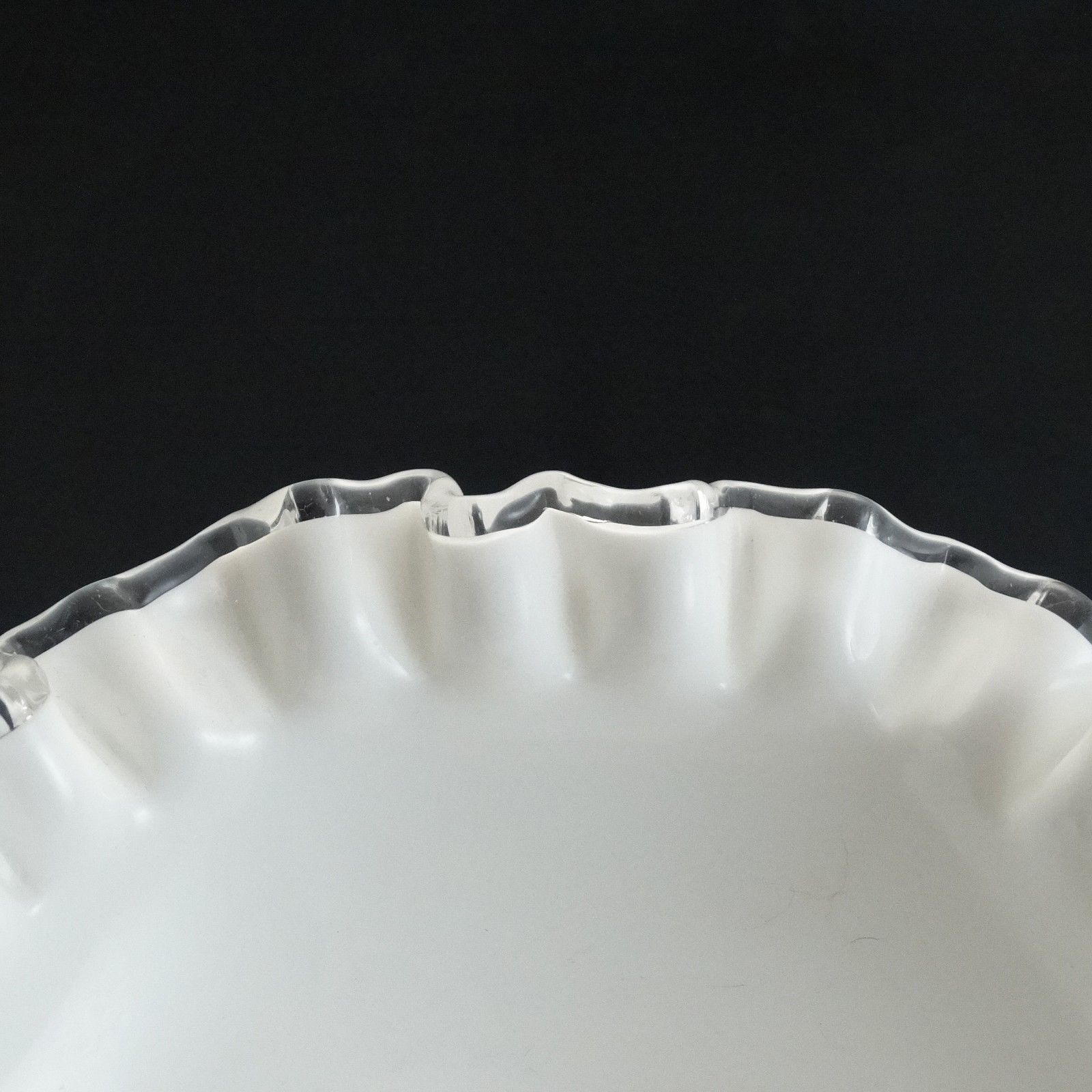 Vintage Fenton Glass Silver Crest Footed 7 inch Compote Bowl White Milk Glass  image 5