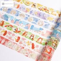 Cute Forest Animals Fruits Collage Decorative Washi Tape Diy Craft Scrap... - $3.43
