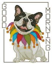 Bull Dog Good Morning cross stitch chart Pinoy Stitch - $13.50