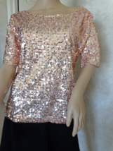 Gold Sequined Shimmery Blouse Size Large (#2934)  - $32.99