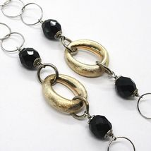 Necklace Silver 925, Ovals Satin Yellow, Nugget Bicolor, Chain Rolo ' , 60 CM image 3