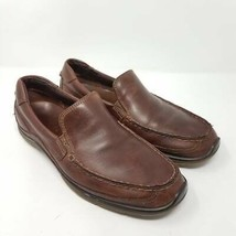 Ecco Mens Driving Loafers Shoes Brown Slip-On Moc Toe Padded Collar 8-8.5 M - $34.87