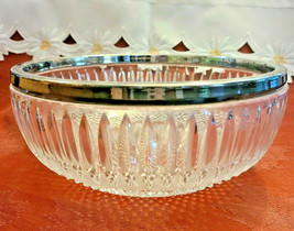 """Vintage Cut Glass Bowl with Silver Plated Rim  8 1/2 """""""
