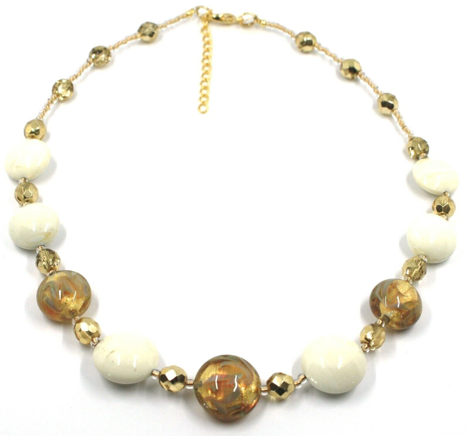 """NECKLACE WHITE YELLOW MURANO GLASS DISC & GOLD LEAF, MADE IN ITALY, 50cm, 20"""""""
