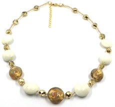 """NECKLACE WHITE YELLOW MURANO GLASS DISC & GOLD LEAF, MADE IN ITALY, 50cm, 20"""" image 1"""