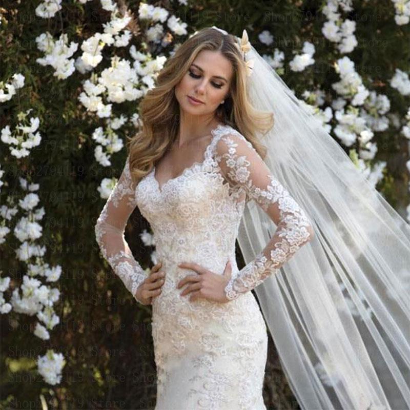 019 elegant wedding dress long sleeve customise sexy v neck vestido de noiva zipper back mermaid