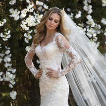 Lace Appliqued Long Sleeved Customized V Neck Zip Chain Back Mermaid Bridal Gown image 1