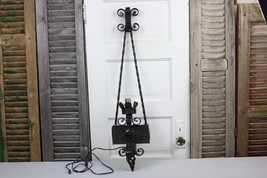 """Antique Wrought Iron Sconce Electric Gothic Castle Black 37"""" Height Twis... - $95.00"""