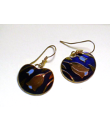 Tulip pierced earrings gold tone blue purple dangle earrings - $10.95