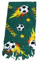 Soccer Ball Fleece Scarf - Green - $9.99
