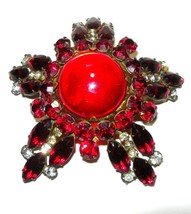 HUGE FASHIONCRAFT ROBERT RED LUCITE CENTER RHINESTONE STAR DOMED BROOCH PIN - $275.00