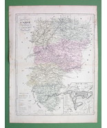 MAP FRANCE Department l'Aisne & Plan of Laon - 1855 H/C Color Original - $3.37