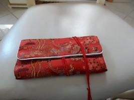 Red oriental pattern jewelry roll - $6.25