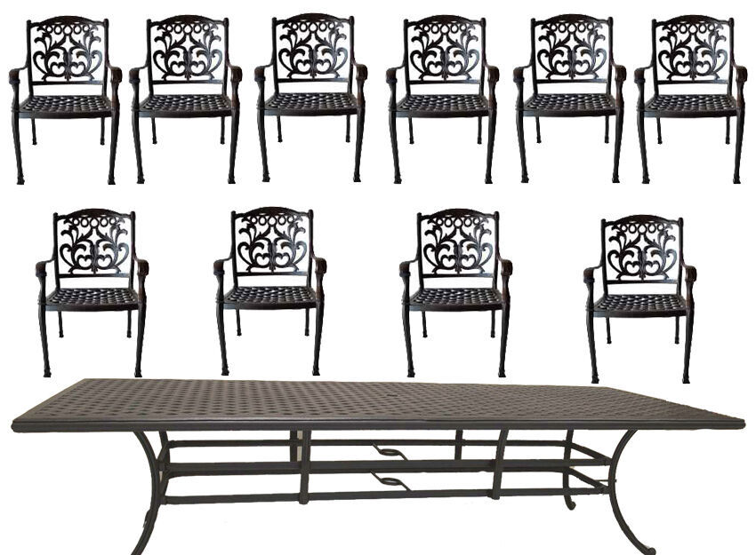 11 Piece Outdoor Patio Dining Set Nassau Cast Aluminum 46 X 120 Table Sunbrella