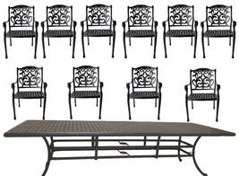 11 piece outdoor patio dining set Nassau cast aluminum 46 x 120 table Sunbrella image 2