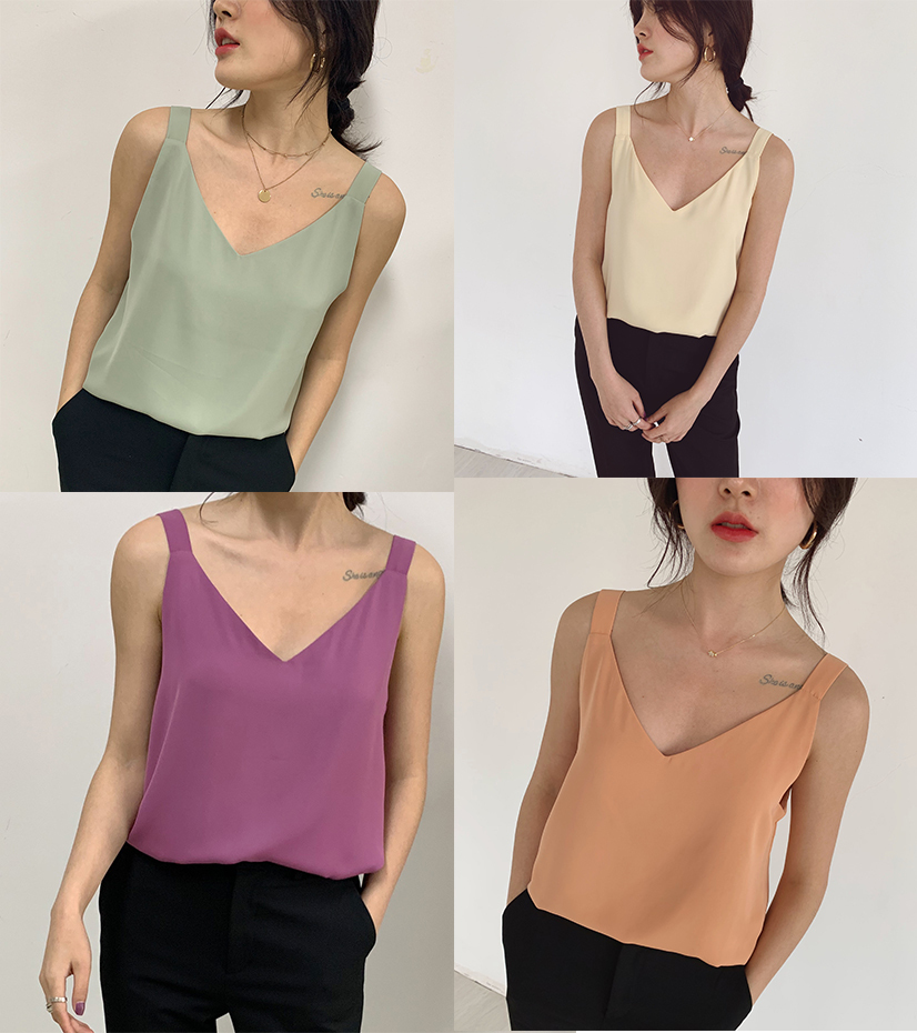 V neck sleeveless chiffon top wide shoulder 2