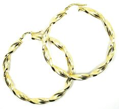 18K YELLOW GOLD BIG HOOPS EARRINGS DIAMETER 50mm TUBE 5mm TWISTED SATIN POINTED image 5