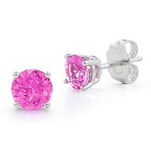 1.00 5mm 14K WHITE GOLD OCTOBER PINK SAPPHIRE ROUND CUT STUD EARRINGS PUSH - $38.98