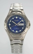 Elgin Blue Mens Stainless Steel Silver Day Date 50m Quartz Battery Watch - $35.09