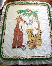 "Hand Quilted X Stitched ""JUNGLE PLAY"" Baby Quilt Crib Blanket add Baby's... - $169.99"