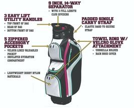 Majek Femmes Noir Blanc Teal Rose Golf Sac 9 inch 14-way Amical Séparate... - $2,197.34