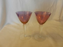 "Pair of Small Purple with Clear Stem Stem Martini Glasses 5.5"" Tall - $29.70"