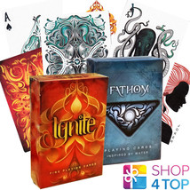2 Decks Bicycle Ellusionist 1 Ignite And 1 Fathom Playing Cards Fire Water New - $20.38