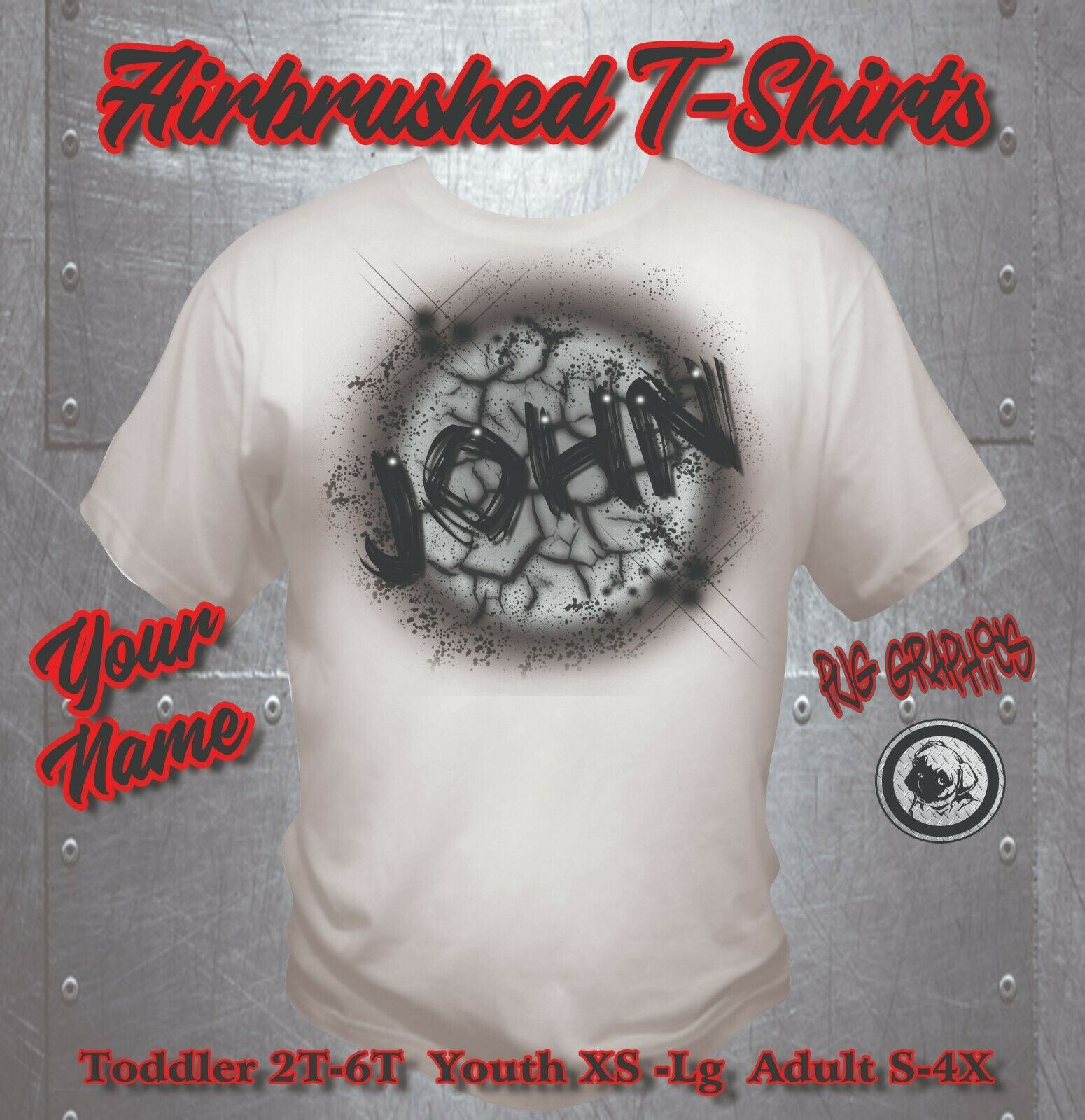 01bbc3ca8 Custom Airbrushed shirt - Personalized w/YOUR Name- T-Shirts