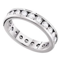 14k White Gold Round Channel-set Diamond Eternity Wedding Anniversary Band - $3,199.00