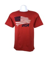 AMERICAN FLAG UNISEX YOUTH RED T-SHIRT S M L XL PATRIOTIC OLYMPICS FREE ... - $9.49