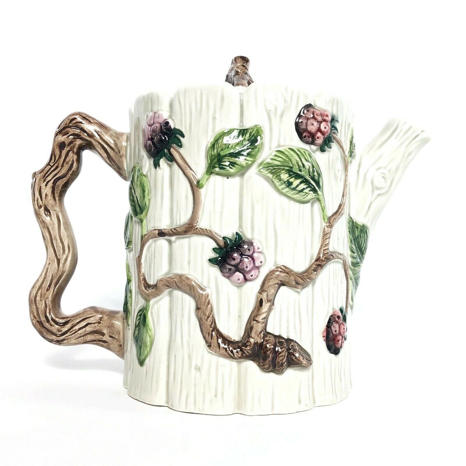 OCI Fitz & Floyd Woodland Wild Raspberry Ceramic Tea Pot Pitcher w Lid Majolica - $24.49