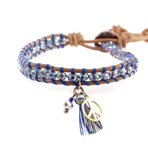 Great Gift Girl's Fashion Bracelet with Pendant Leather Cord Bracelet[Dark Blue]