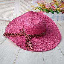 Women Straw Sun Hat With Leopard Ribbon Wide Brim Floppy Foldable Cap Summer Bea image 4